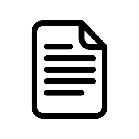 Document icon. Sheet of paper with text. Outline modern design element. Simple black flat vector sign with rounded corners.