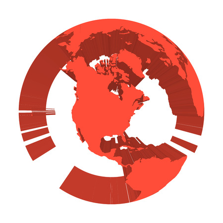 Earth globe model with red extruded lands. Focused on North America. 3D vector illustration. Illustration