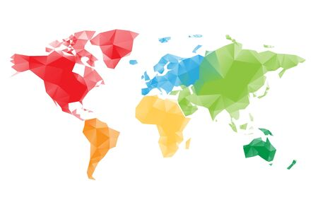 Low poly map of World divided into six continents by color. Polygonal vector design with dropped shadow. Illustration