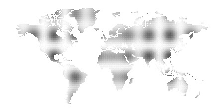 Vector dotted world map isolated on white background. Stock Illustratie