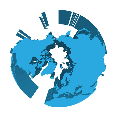 Earth globe model with blue extruded lands. Focused on Arctica and North Pole. 3D vector illustration. Illustration