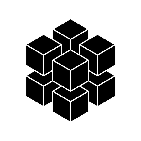 Black geometric cube of 8 smaller isometric cubes. Abstract design element. Science or construction concept. 3D vector object.