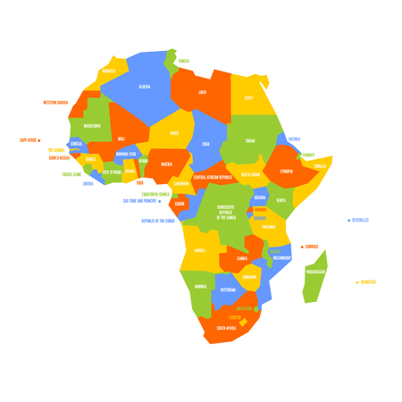 Very simplified infographical political map of Africa. Simple geometric vector illustration.
