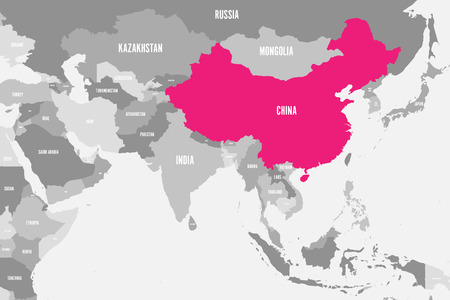 China pink marked in political map of Southern Asia. Vector illustration.