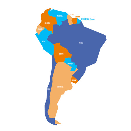 Very simplified infographical political map of South America. Simple geometric vector illustration. Illustration