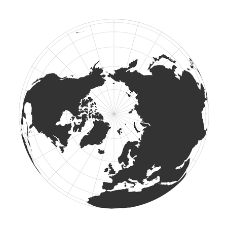 Vector Earth globe focused on Arctic and North Pole.