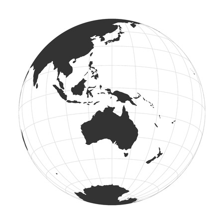 Vector Earth globe focused on Australia and Oceania.