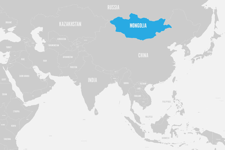 Mongolia blue marked in political map of Southern Asia. Vector illustration.