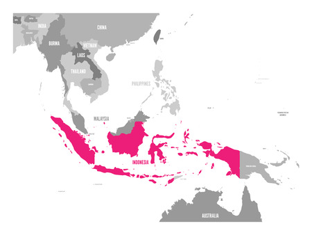 Vector map of Indonesia. Pink highlighted in Southeast Asia region. Illustration