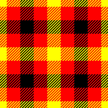 Lumberjack plaid pattern in red, yellow and black. Seamless vector pattern. Simple vintage textile design in colors of german flag.