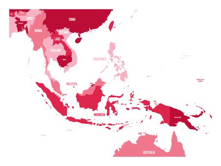 Kaart van Zuidoost-Azië. Vector kaart in de kleuren marron. Vector Illustratie