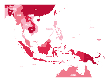 Map of Southeast Asia. Vector map in shades of maroon.