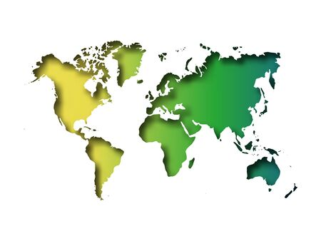 Map of World cut into paper with inner shadow isolated on green gradient background. Vector illustration with 3D effect. Vettoriali