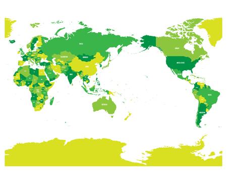 carte du monde dans différentes nuances de vert sur fond blanc. vue vectorielle haute résolution combinée . composition vectorielle combinée avec le côté du tapis se déplace