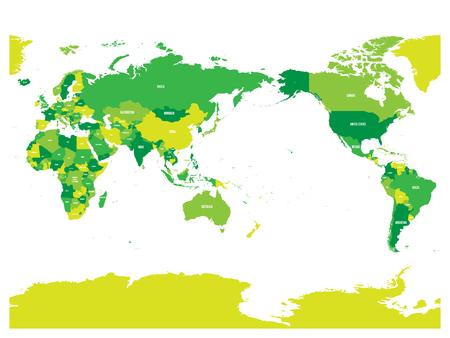 Mapa mundial en cuatro tonos de verde sobre fondo blanco. Alto detalle del mapa político centrado en el Pacífico. Ilustración de vector con ruta compuesta etiquetada de cada país.