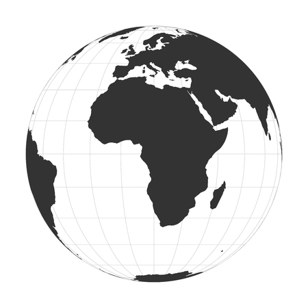 Vector Earth globe focused on Africa continent.