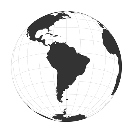 Vector Earth globe focused on South America. Illustration
