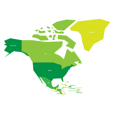 Very simplified infographical political map of North America in green colors. Simple geometric vector illustration.