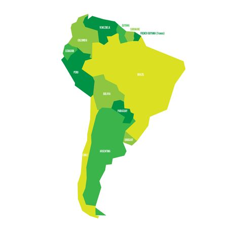 Very simplified infographical political map of South America in green colors. Simple geometric vector illustration.