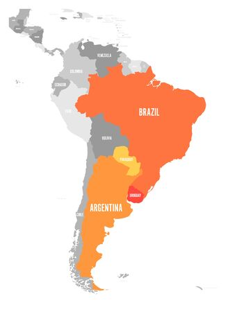 Map of MERCOSUR countries. South american trade association. Orange highlighted member states Brazil, Paraguay, Uruguay and Argetina. Иллюстрация