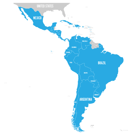 Political map of Latin America. L Çizim