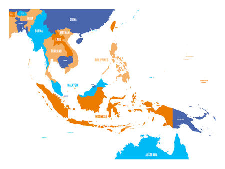 Mapa wektorowa Azji Południowo-Wschodniej. Ilustracje wektorowe