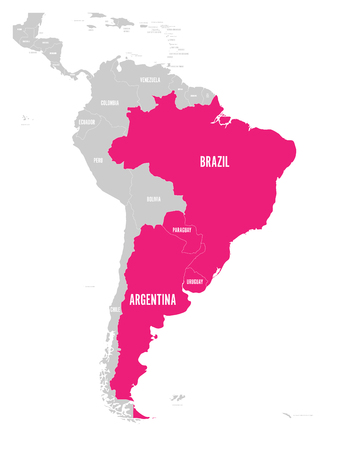 Map of MERCOSUR countires. South american trade association. Pink highlighted member states Brazil, Paraguay, Uruguay and Argetina. Since December 2016. Illustration