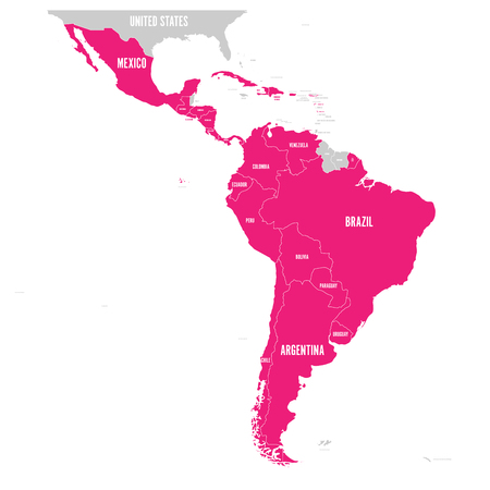 Mapa político de América Latina. Los estados de América Latina resaltados en rosa en el mapa de América del Sur, América Central y el Caribe. Ilustración vectorial.