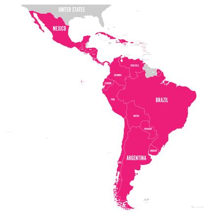 Mapa polityczna Ameryki Łacińskiej. Stany Ameryki Łacińskiej są wyróżnione na różowo na mapie Ameryki Południowej, Ameryki Środkowej i Karaibów. Ilustracji wektorowych.
