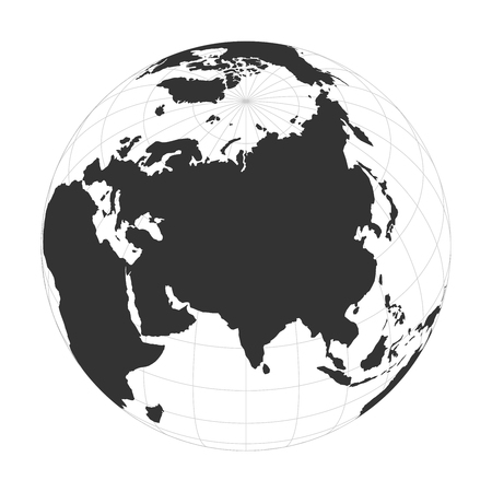 Vector Earth globe focused on Asia continent. 矢量图像