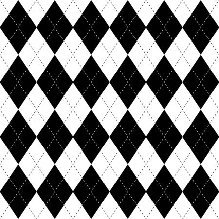 Black and white argyle seamless pattern background with diamond shapes