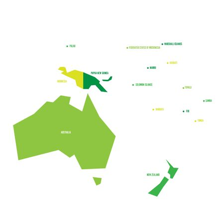 Very simplified infographical political map of Australia and Oceania. Simple geometric vector illustration. Illustration
