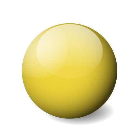 Yellow glossy sphere, ball or orb. 3D vector object with dropped shadow on white background.