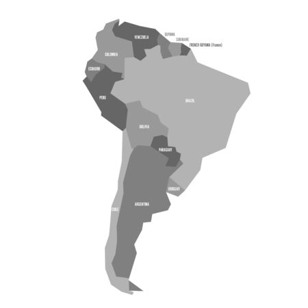 Very simplified infographical political map of South America in gray colors. Simple geometric vector illustration.