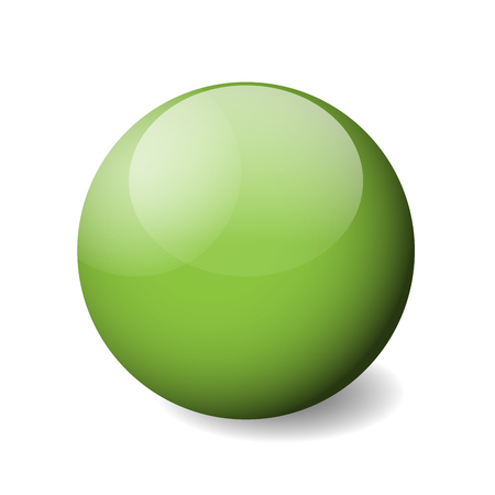 Green glossy sphere, ball or orb. 3D vector object with dropped shadow on white background.