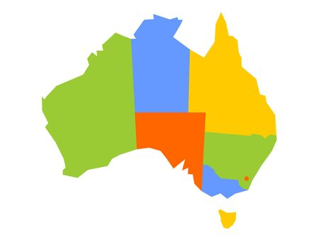 Colorful blank map of Australia. Vector illustration.