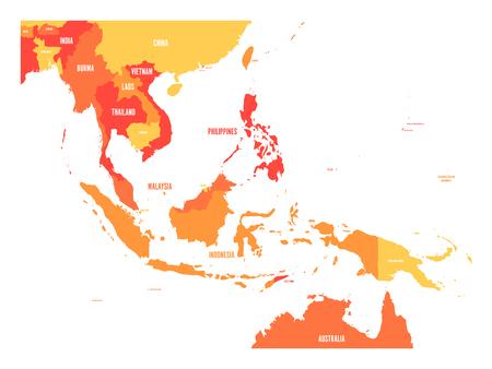 Kaart van Zuidoost-Azië. Vector kaart in oranje tinten. Vector Illustratie