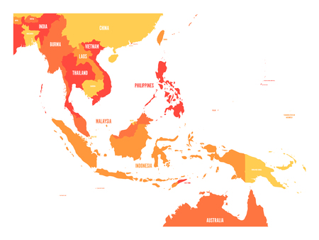 Map of Southeast Asia. Vector map in shades of orange. Vettoriali