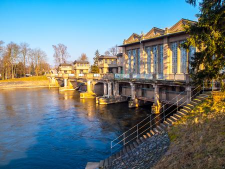 Labe River lock in Podebrady, Czech Republic. Фото со стока