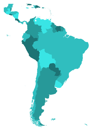 Political map of South America. Simple flat blank vector map in four shades of turquoise blue.
