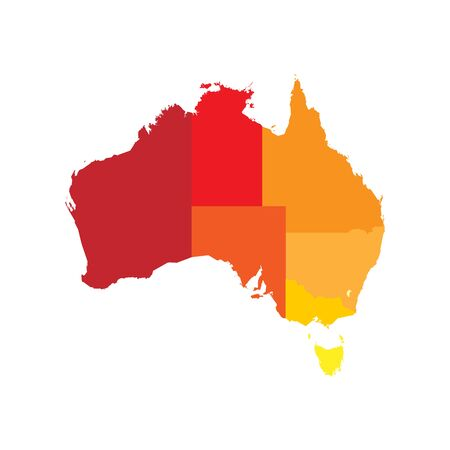 Simplified map of Australia divided into states and territories. Blank flat vector map.