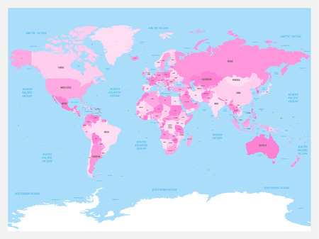 World map atlas Pink colored political map with blue seas and oceans Vector illustration.