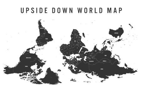 Reversed or upside down political map of World. South-up orientation. Vector illustration. Çizim