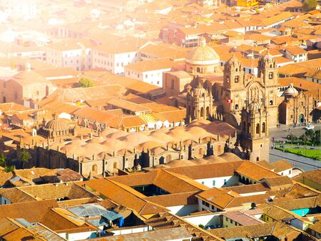 Aerial view of Cusco Cathedral at Plaza de Armas, Cusco, Peru. Stock Photo