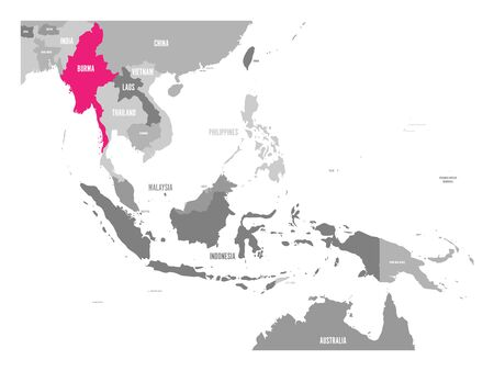 Vector map of Burma or Myanmar. Pink highlighted in Southeast Asia region.