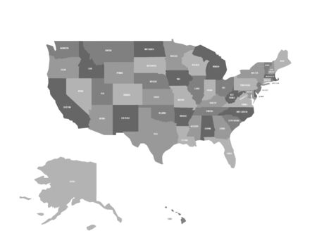 Political map of United States od America, USA. Simple flat vector map in four shades of grey with white state name labels on white background.