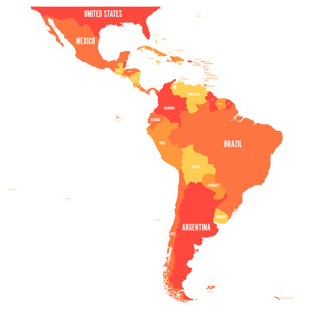 Map of Latin America. Vector illustration in shades of orange. Stock Illustratie