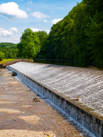 Weir on Jizera river near Dolanky, Turnov, Czech Republic.