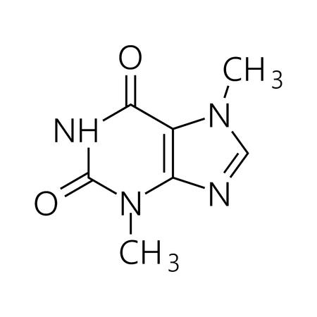 カフェイン分子。簡単な化学骨格式。ベクトルの図