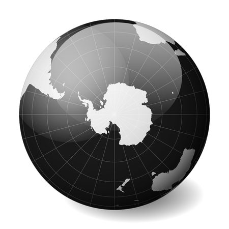 Earth globe with white world map and black seas and oceans focused on Antarctica and South Pole. With thin white meridians and parallels. 3D glossy sphere vector illustration. 일러스트
